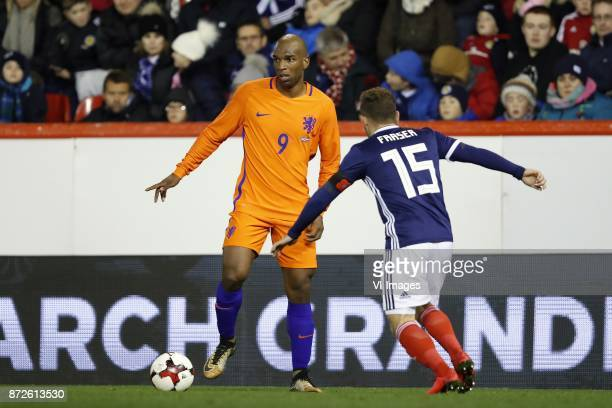 Ryan Babel of Holland Ryan Fraser of Scotland during the friendly match between Scotland and The Netherlands on November 09 2017 at Pittodrie Stadium...