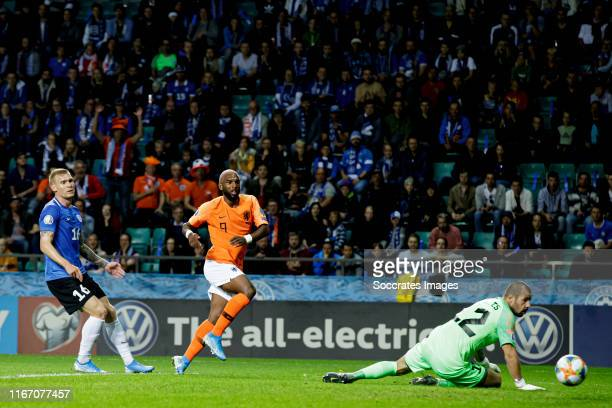 Ryan Babel of Holland scores the first goal to make it 01 during the EURO Qualifier match between Estonia v Holland at the Lillekula Stadium on...