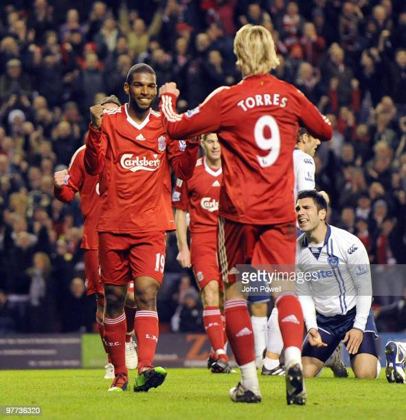 Ryan Babel of Liverpool celebrates after scoring the second during the Barclays Premier League match between Liverpool and Portsmouth at Anfield on...