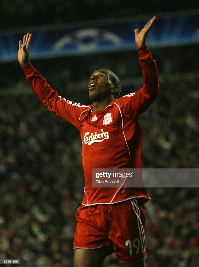 Ryan Babel of Liverpool celebrates scoring his team's fourth goal during the UEFA Champions League Quarter Final, second leg match between Liverpool and Arsenal at Anfield on April 8, 2008 in Liverpool, England.
