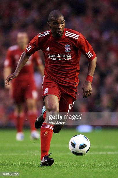 Ryan Babel of Liverpool in action during the UEFA Europa League playoff first leg match beteween Liverpool and Trabzonspor at Anfield on August 19...