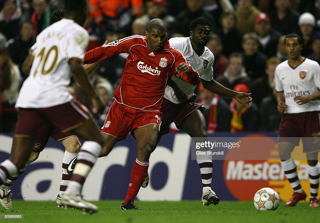 Ryan Babel of Liverpool is fouled by Kolo Toure of Arsenal to concede a penalty which led to Liverpool's third goal during the UEFA Champions League Quarter Final, second leg match between Liverpool and Arsenal at Anfield on April 8, 2008 in Liverpool, England.