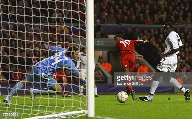 Ryan Babel of Liverpool scores his team's sixth goal during the UEFA Champions League Group A match between Liverpool and Besiktas at Anfield on...