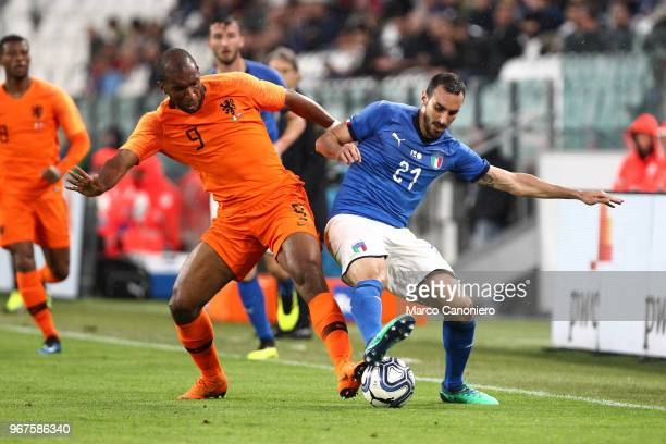 Ryan Babel of Netherlands and Davide Zappacosta of Italy in action during the International Friendly match between Italy and Netherlands The match...
