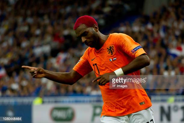 Ryan Babel of Netherlands celebrates after scoring his team`s first goal during the UEFA Nations League A group one match between France and...