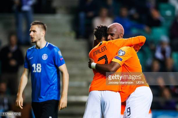 Ryan Babel of Netherlands celebrates his 2nd goal with Donyell Malen of Netherlands during the UEFA Euro 2020 Qualifier group C match between Estonia...