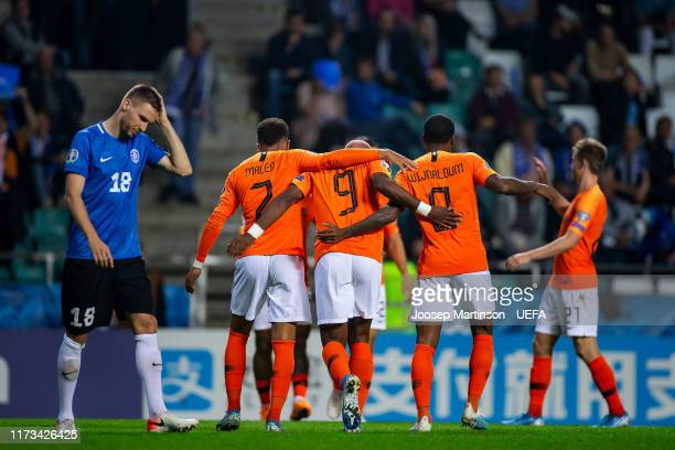 Ryan Babel of Netherlands celebrates his 2nd goal with team mates during the UEFA Euro 2020 Qualifier group C match between Estonia and Netherlands...