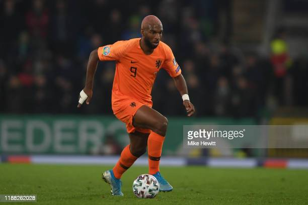Ryan Babel of Netherlands in action during the UEFA Euro 2020 qualifier between Northern Ireland and The Netherlands at Windsor Park on November 16,...