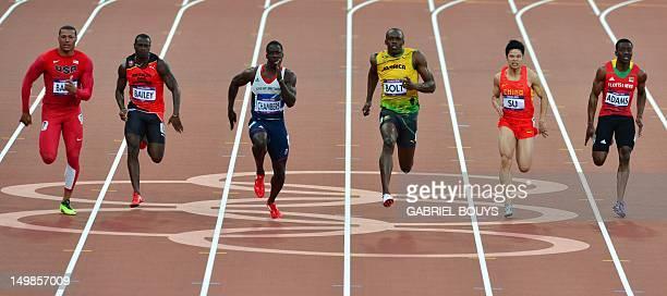 US' Ryan Bailey Antigua and Barbuda's Daniel Bailey Britain's Dwain Chambers Jamaica's Usain Bolt China's Su Bingtian and Saint Kitts Nevis' Antoine...