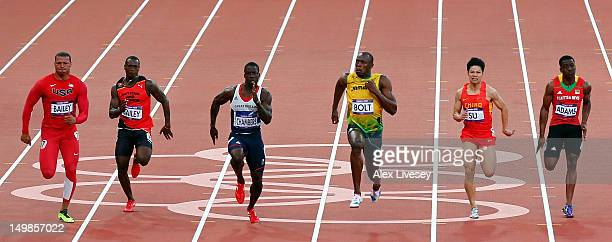 Ryan Bailey of the United States Daniel Bailey of Antigua and Barbuda Dwain Chambers of Great Britain Usain Bolt of Jamaica Bingtian Su of China ad...