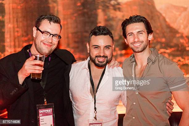 """Ryan Balas, Daniel Armando and Al Miro from the movie Daddy's Boy pose for a picture at the 2016 Outfest Los Angeles Closing Night Gala Of """"Other..."""