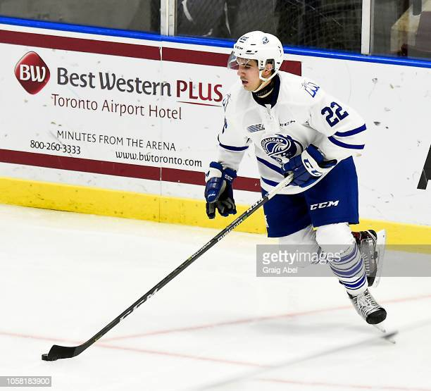 Ryan Barbosa of the Mississauga Steelheads controls the puck against the Ottawa 67's during OHL game action on October 21, 2018 at Paramount Fine...