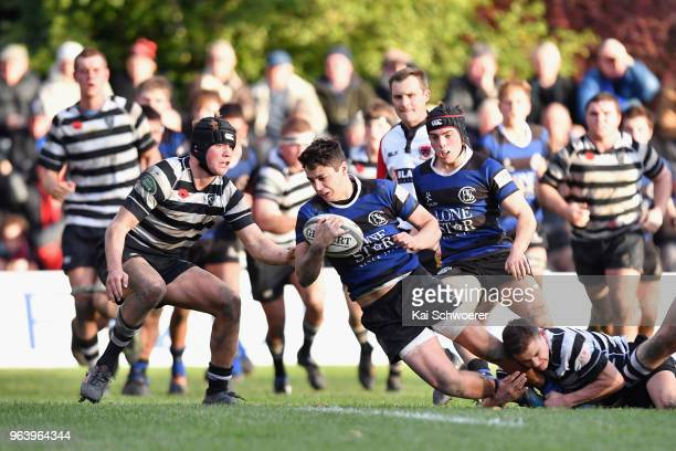 Ryan Barnes of CBHS is tackled during the First XV match between Christ's College and Christchurch Boys' High School on May 31, 2018 in Christchurch,...
