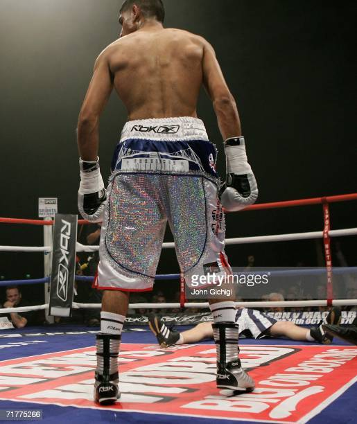 Ryan Barrett is floored in the 1st round during the fight against Amir Khan on September 2, 2006 at the Bolton Arena in Bolton, England.