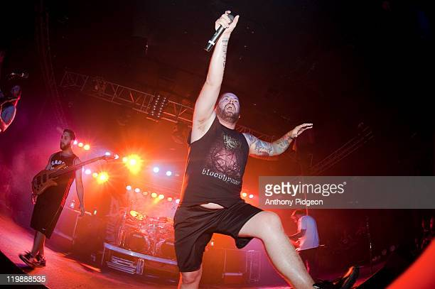 Ryan Bart Williams and Trevor Strnad of The Black Dahlia Murder perform onstage at Roseland Theater on July 25 2011 in Portland United States