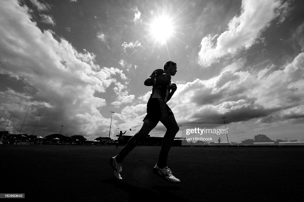 Ryan Bastinac of the Kangaroos runs during the warm up before the start of the round two AFL NAB Cup match between the Gold Coast Suns and the North Melbourne Kangaroos at Tony Ireland Stadium on March 2, 2013 in Townsville, Australia.