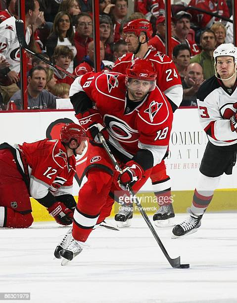 Ryan Bayda of the Carolina Hurricanes skates hard with the puck during Game Four of the Eastern Conference Quarterfinal Round of the 2009 Stanley Cup...