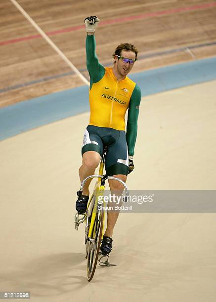 Ryan Bayley of Australia celebrates winning the gold in the men's track cycling sprint final on August 24 2004 during the Athens 2004 Summer Olympic...