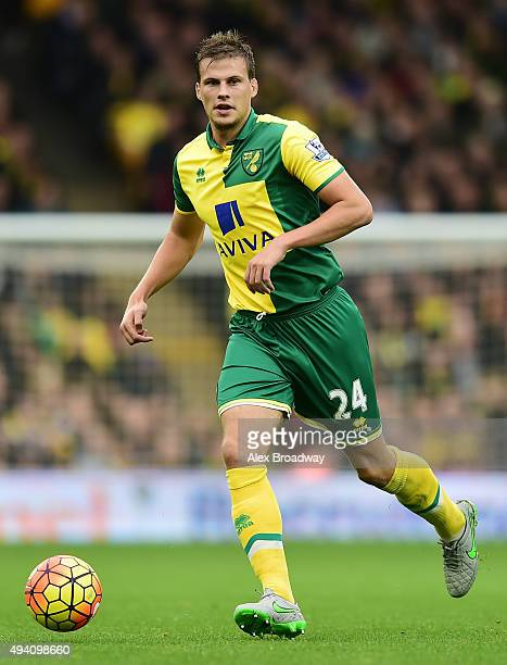 Ryan Bennett of Norwich City in action during the Barclays Premier League match between Norwich City and West Bromwich Albion at Carrow Road on...
