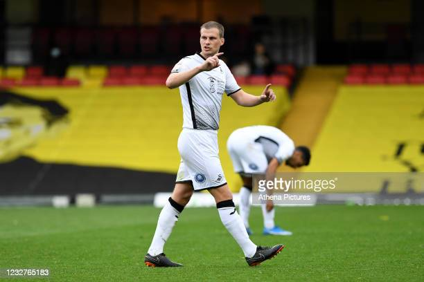 Ryan Bennett of Swansea City during the Sky Bet Championship match between Watford and Swansea City at Vicarage Road on May 08, 2021 in Watford,...