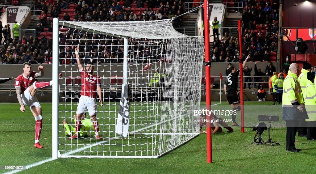 Ryan Bennett of Wolverhampton Wanderers celebrates after scoring a goal to make it 1-2 during the Sky Bet Championship match between Bristol City and Wolverhampton at Ashton Gate on December 30, 2017 in Bristol, England.