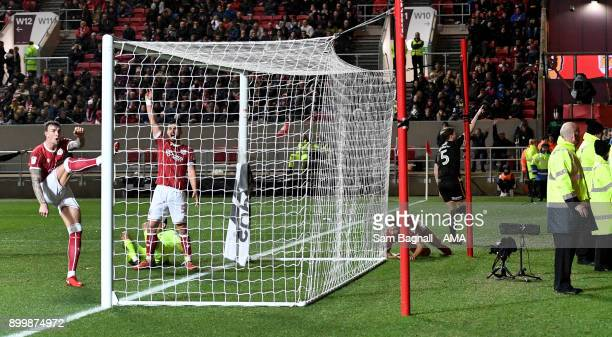 Ryan Bennett of Wolverhampton Wanderers celebrates after scoring a goal to make it 12 during the Sky Bet Championship match between Bristol City and...