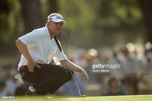 Ryan Benzel waits on a green during the first round of the 89th PGA Championship at the Southern Hills Country Club on August 9 2007 in Tulsa Oklahoma