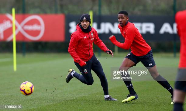 Ryan Bertrand and Kayne Ramsay during a Southampton FC training session at the Staplewood Campus on January 31 2019 in Southampton England