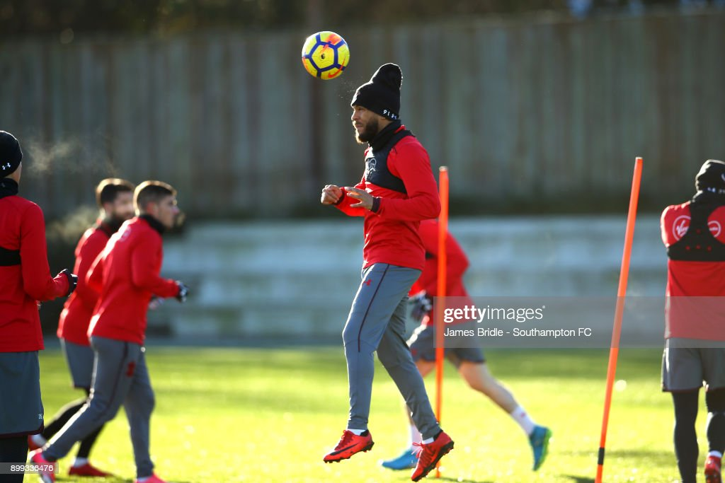 Ryan Bertrand (C) during a Southampton FC training session at Staplewood Complex on December 28, 2017 in Southampton, England.