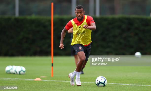 Ryan Bertrand during a Southampton FC training session at the Staplewood Campus on September 11 2018 in Southampton England