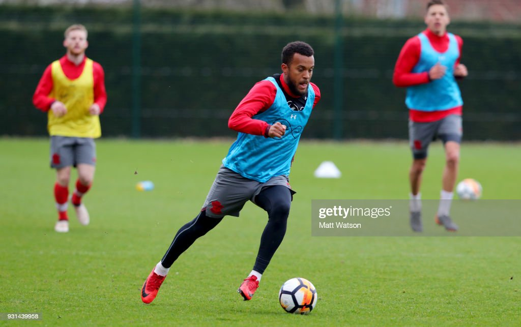 Ryan Bertrand during a Southampton FC training session at the Staplewood Campus on March 13, 2018 in Southampton, England.