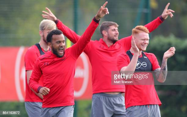 Ryan Bertrand Jack Stephens and Will Wood during a Southampton FC training session at the Staplewood Campus on September 26 2017 in Southampton...