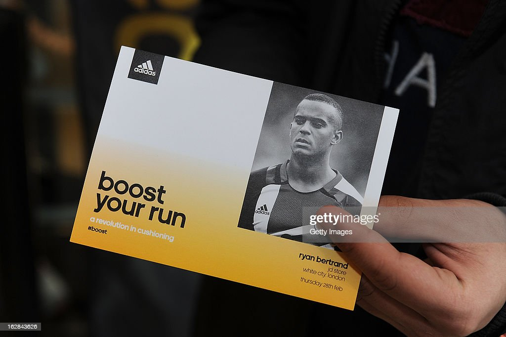 A Ryan Bertrand of Chelsea autograph card at the adidas Boost Launch at the Westfield shopping centre on February 28, 2013 in London, England.