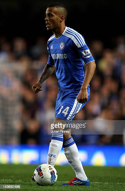 Ryan Bertrand of Chelsea controls the ball during the Barclays Premier League match between Chelsea and Newcastle United at Stamford Bridge on May 2...