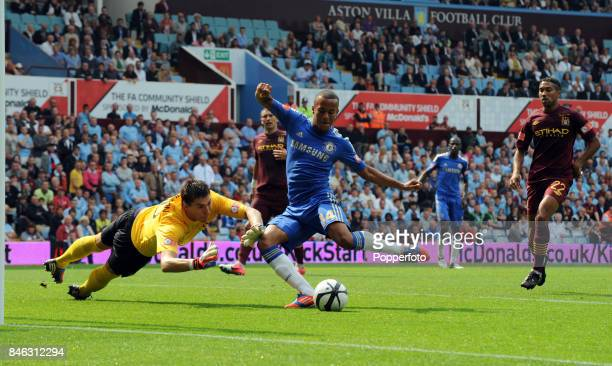 Ryan Bertrand of Chelsea scores a goal past Costel Pantilimon of Manchester City during the FA Community Shield match between Manchester City and...