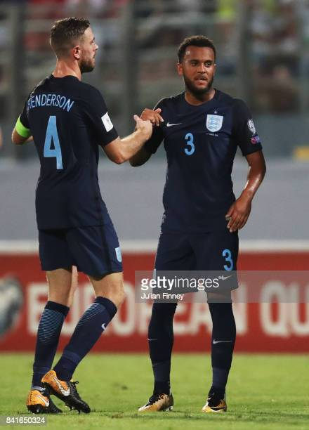 Ryan Bertrand of England celebrates as he scores their second goal with Jordan Henderson of England during the FIFA 2018 World Cup Qualifier between...