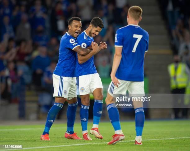 Ryan Bertrand of Leicester City celebrates with team mates Harvey Barnes and their team's second goalscorer Ayoze Pérez during the pre-season...