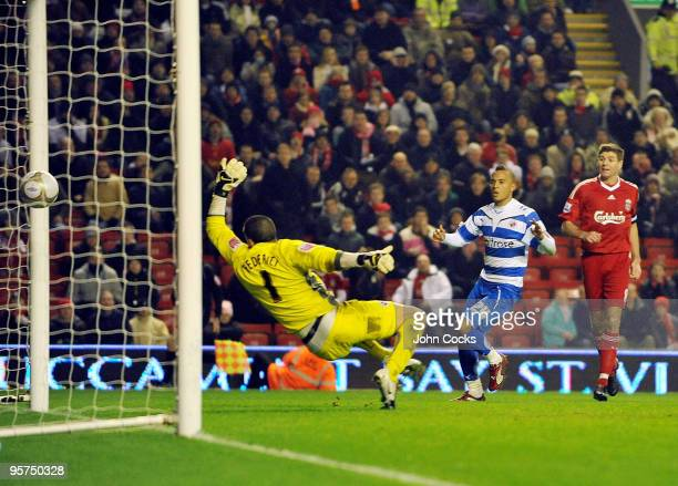 Ryan Bertrand of Reading scores an own goal during the FA Cup 3rd round replay match between Liverpool and Reading at Anfield on January 13 2010 in...