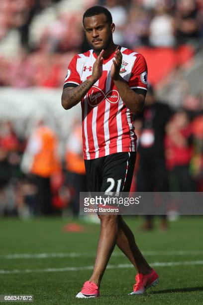 Ryan Bertrand of Southampton acknowledges the supporters during a lap of appreciation after the Premier League match between Southampton and Stoke...