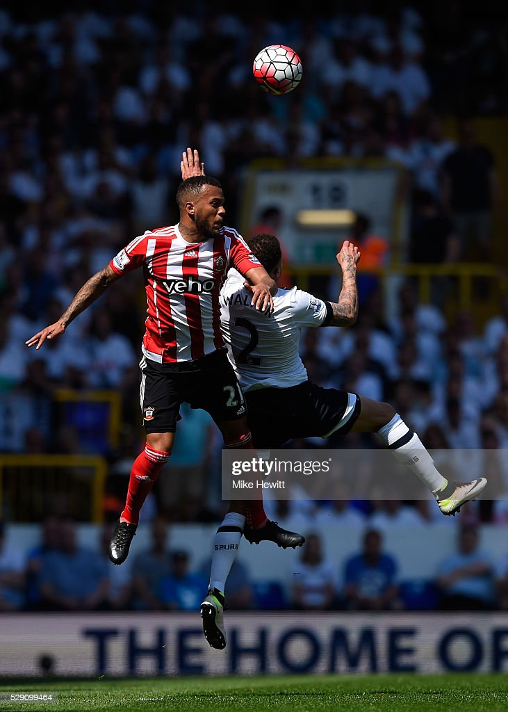 Ryan Bertrand of Southampton and Kyle Walker of Tottenham Hotspur in action during the Barclays Premier League match between Tottenham Hotspur and Southampton at White Hart Lane on May 8, 2016 in London, England.