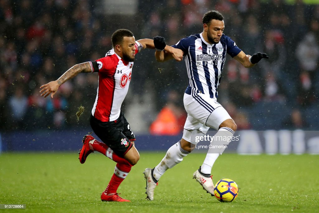 Ryan Bertrand of Southampton battles for possesion with Matt Phillips of West Bromwich Albion during the Premier League match between West Bromwich Albion and Southampton at The Hawthorns on February 3, 2018 in West Bromwich, England.