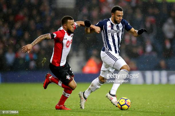 Ryan Bertrand of Southampton battles for possesion with Matt Phillips of West Bromwich Albion during the Premier League match between West Bromwich...