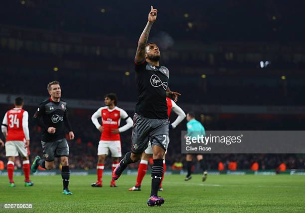 Ryan Bertrand of Southampton celebrates after scoring his team's second goal of the game during the EFL Cup quarter final match between Arsenal and...