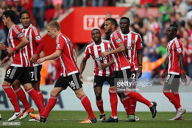 Ryan Bertrand of Southampton celebrates scoring his team's third goal with his team mates during the Barclays Premier League match between...