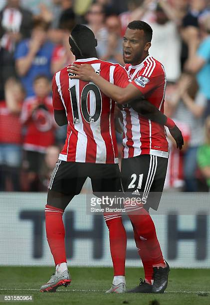 Ryan Bertrand of Southampton celebrates scoring his team's third goal with his team mate Sadio Mane during the Barclays Premier League match between...