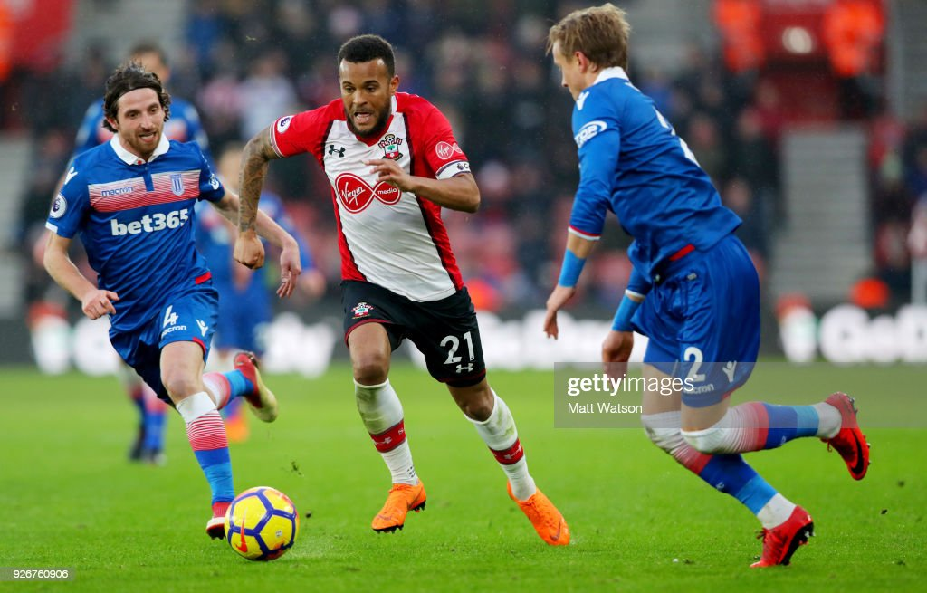 Ryan Bertrand of Southampton during the Premier League match between Southampton and Stoke City at St Mary's Stadium on March 3, 2018 in Southampton, England.