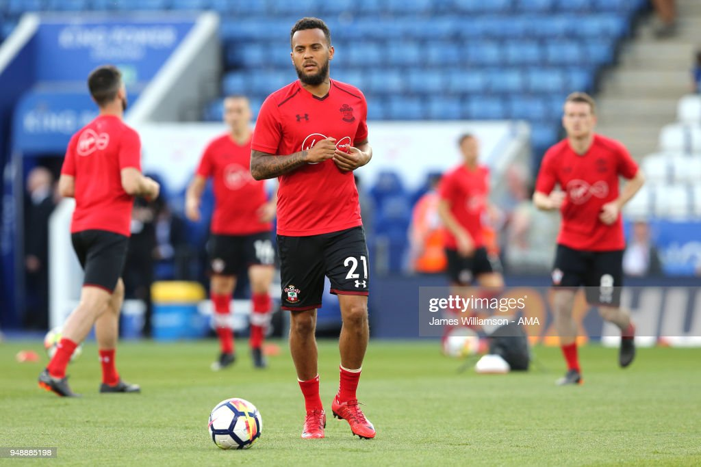 Ryan Bertrand of Southampton during the Premier League match between Leicester City and Southampton at The King Power Stadium on April 19, 2018 in Leicester, England.