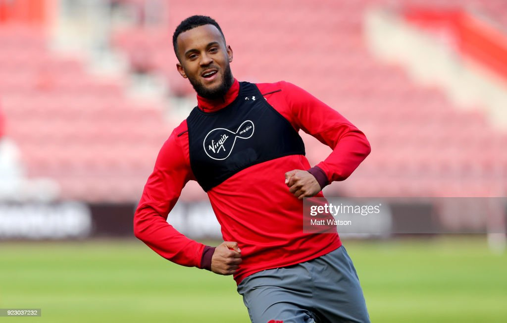 Ryan Bertrand of Southampton FC during a training session at St. Mary's Stadium on February 22, 2018 in Southampton, England.