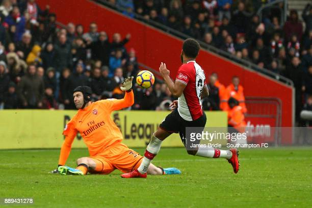 Ryan Bertrand of Southampton FC has a near miss against Petr Cech of Arsenal during the Premier League match between Southampton and Arsenal at St...