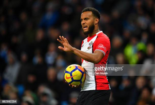 Ryan Bertrand of Southampton gestures during the Premier League match between Manchester City and Southampton at Etihad Stadium on November 29 2017...